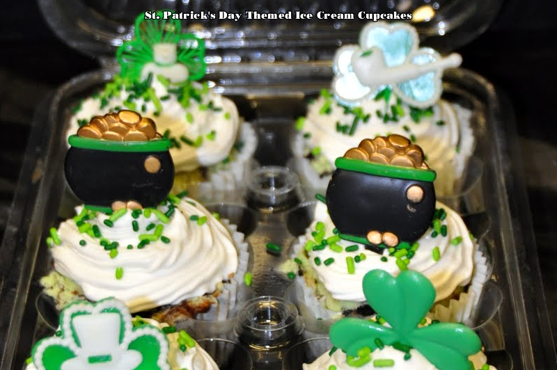 St. Patrick's Day Themed Ice Cream Cupcakes