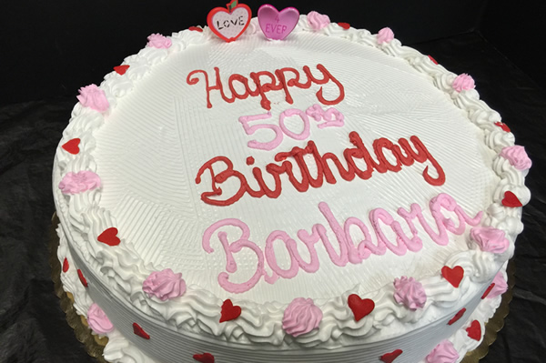 12 inch Valentine's Day Themed Birthday Ice Cream Cake.
