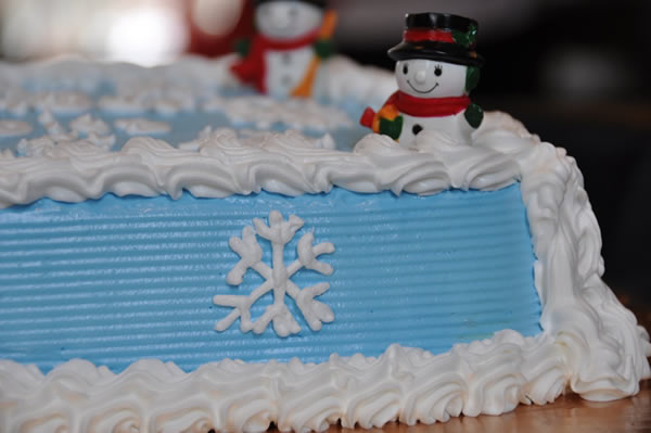 Christmas Themed Ice Cream Cake.