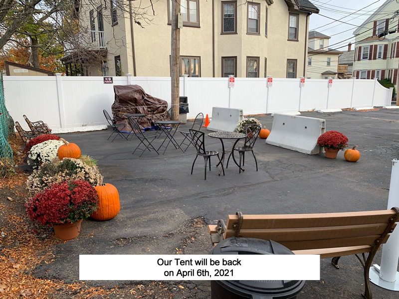 now that out tent is gone for the season we still have some outdoor seating for those nice warmer days